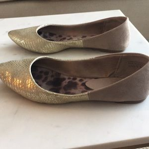 Gold & Tan/Taupe Suede Ballet Flats - Yellow Box